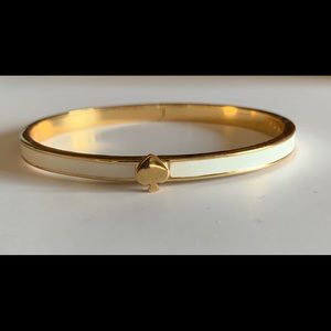 Kate Spade White Enamel Hinged Bangle Bracelet